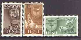 Ifni 1956 Colonial Stamp Day (Arms, Sheep & Drummer) set of 3 unmounted mint, SG 130-32