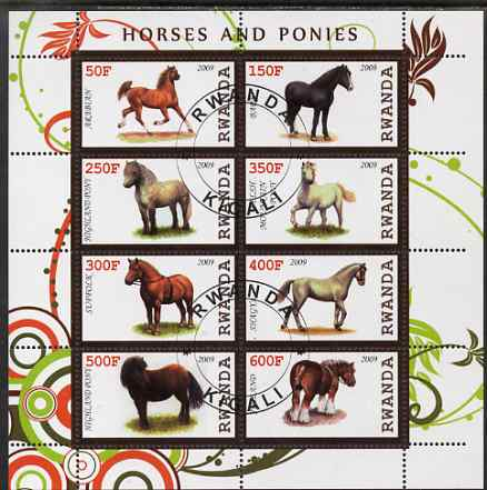 Rwanda 2009 Horses & Ponies perf sheetlet containing 8 values fine cto used