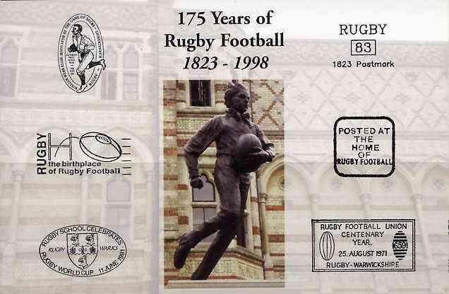 Postcard privately produced in 1998 (coloured) for the 175th Anniversary of Rugby, unused and pristine