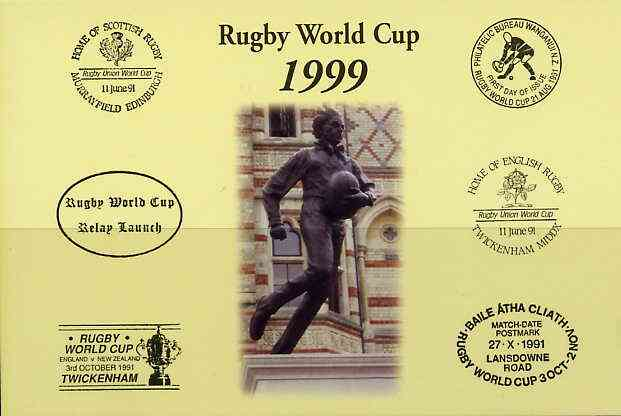 Postcard privately produced in 1999 (coloured) for the Rugby World Cup, unused and pristine