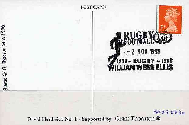Postcard privately produced in 1998 (coloured) for the 175th Anniversary of Rugby used with special 'William Webb Ellis' commemorative cancellation (numbered limited edition of just 30)