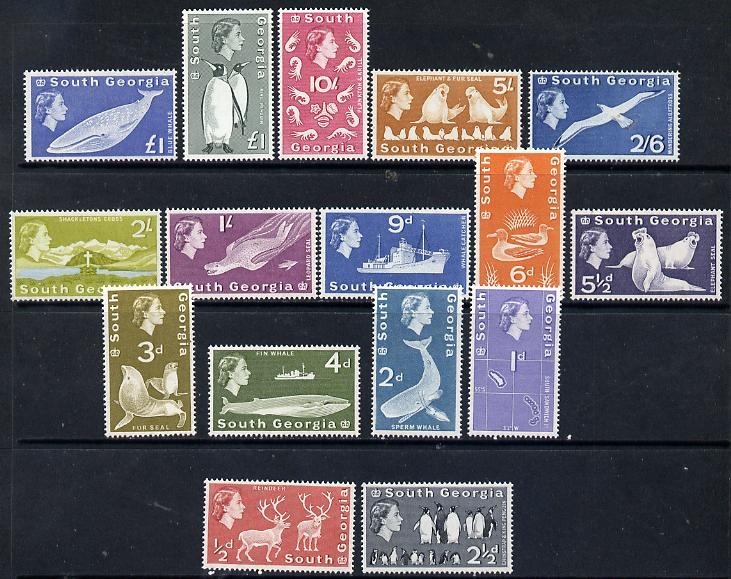 Falkland Islands Dependencies - South Georgia 1963-69 First definitive set complete - 16 values including both \A31 values, unmounted mint SG 1-16