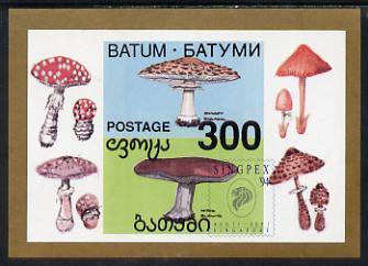 Batum 1994 Fungi imperf s/sheet with 'Singpex' opt unmounted mint