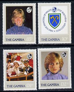 Gambia 1982 21st Birthday of Princess of Wales perf set of 4 unmounted mint, SG 476-9
