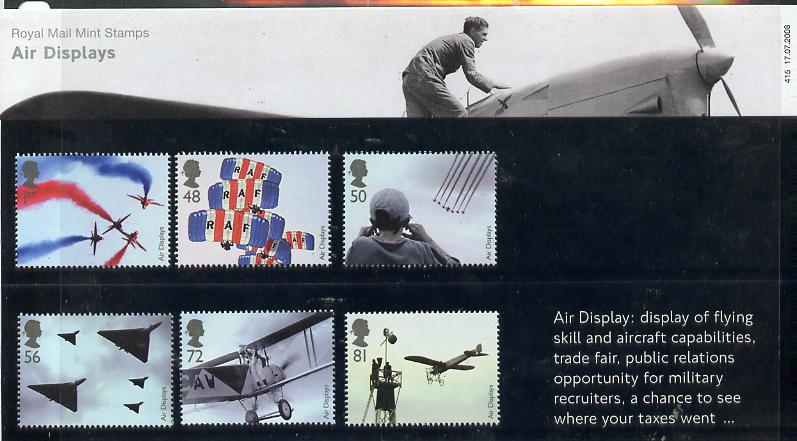Great Britain 2008 Air Displays perf set of 6 in official presentation pack unmounted mint SG 2855-60