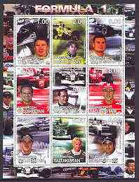 Tadjikistan 2001 Formula 1 perf sheetlet #1 containing set of 9 values unmounted mint