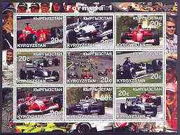 Kyrgyzstan 2001 Formula 1 perf sheetlet containing set of 9 values unmounted mint