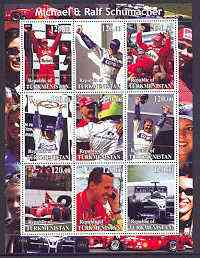 Turkmenistan 2001 The Schumachers (Formula 1) perf sheetlet containing set of 9 values unmounted mint