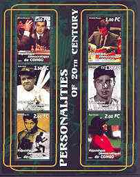 Congo 2001 Personalities of the 20th Century perf sheetlet #02 containing 6 values (Kasparov, Karpov, Babe Ruth, Joe DiMaggio, M Ali & Tiger Woods) unmounted mint