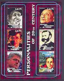 Congo 2001 Personalities of the 20th Century perf sheetlet #05 containing 6 values (Mao, Xiaoping, Bill Gates, Henri Dunant, Bill Clinton & Henry Ford) unmounted mint