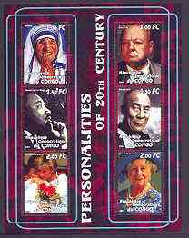 Congo 2001 Personalities of the 20th Century perf sheetlet #06 containing 6 values (Mother Teresa, Churchill, Martin Luther King, Dalai Lama, Princess Di & Queen Mother) ...