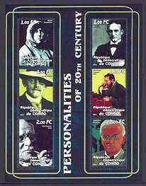 Congo 2001 Personalities of the 20th Century perf sheetlet #08 containing 6 values (Amundsen, George Eastman, David Hilbert, A G Bell, Carl Jung & Alexander Fleming) unmounted mint