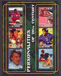 Congo 2001 Personalities of the 20th Century perf sheetlet #09 containing 6 values (Ayrton Senna, Jesse Owens, Roberto Clemente, D Beckham, Nika Hakkinen & Jim Thorpe) un...