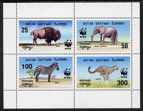 Batum 1994 WWF Wild Animals perf sheetlet containing set of 4 unmounted mint, stamps on animals    wwf    bison    elephant      zebra     cheetah    cats    bovine, stamps on  wwf , stamps on