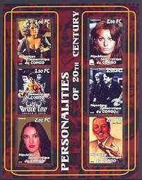Congo 2001 Personalities of the 20th Century perf sheetlet #13 containing 6 values (Liz Taylor, Sophia Loren, Bruce Lee, Chaplin, Madonna & Walt Disney) unmounted mint