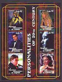 Congo 2001 Personalities of the 20th Century perf sheetlet #15 containing 6 values (Louis Armstrong, Claudia Schiffer, Freddy Mercury, John Lennon, Elton John & Greta Garbo) unmounted mint
