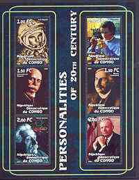 Congo 2001 Personalities of the 20th Century perf sheetlet #16 containing 6 values (Gagarin, Marie Curie, Von Zeppelin, Rutherford, Einstein & Neil Armstrong) unmounted m...