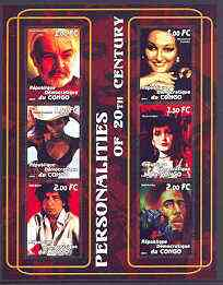 Congo 2001 Personalities of the 20th Century perf sheetlet #17 containing 6 values (Sean Connery, Monserrat Caballe, Naomi Campbell, Maria Callas, Bob Dylan & Bob Marley) unmounted mint