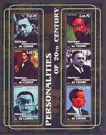Congo 2001 Personalities of the 20th Century perf sheetlet #18 containing 6 values (Albert Camus, Debussy, Degas, Fellini, Dali & Marcel Duchamp) unmounted mint