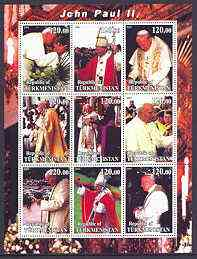 Turkmenistan 2001 Pope John Paul II perf sheetlet containing 9 values unmounted mint