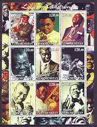 Turkmenistan 2001 Louis Armstrong perf sheetlet containing 9 values unmounted mint, stamps on personalities, stamps on music, stamps on jazz