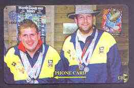 Telephone Card - Falkland Islands �10 'phone card showing David Peck & Graham Didlick, Pistol Shooters in 16th Commonwealth Games