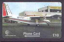 Telephone Card - Falkland Islands �10 'phone card showing Britten-Norman Islander for 50th Anniversary of FI Govt Air Services