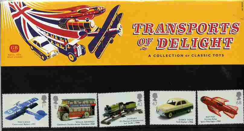 Great Britain 2003 Transport of Delight (Toys) perf set of 5 values in official presentation pack SG 2397-2401