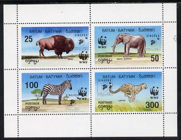Batum 1994 WWF Wild Animals perf sheetlet containing set of 4 with