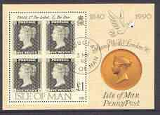 Isle of Man 1990 150th Anniversary of Penny Black m/sheet (Stamp World) very fine cds used, SG MS 447