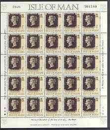 Isle of Man 1990 150th Anniversary of Penny Black m/sheet (1p concession stamp) in sheetlet of 25 (corner letters different) unmounted mint SG 442b