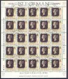 Isle of Man 1990 150th Anniversary of Penny Black m/sheet (1p concession stamp) in sheetlet of 25 (corner letters different) very fine cds used SG 442b