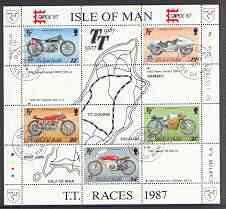Isle of Man 1987 80th Anniversary of TT Motorcycle Racing m/sheet (with Capex 87 imprint) very fine cds used, SG MS 353