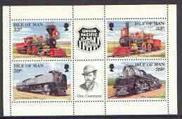 Isle of Man 1992 Union Pacific Railroad pane containing 33p & 39p each in horiz pairs with labels between unmounted mint, SG 522a & 524a