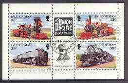 Isle of Man 1992 Union Pacific Railroad pane containing 33p & 39p each in horiz pairs with labels between very fine cds used, SG 522a & 524a