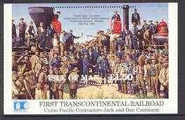 Isle of Man 1992 Union Pacific Railroad m/sheet (Golden Spike) unmounted mint SG MS 526