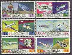 Yemen - Royalist 1970 History of Flight perf set of 6 very fine cto used, Mi 1167-72*