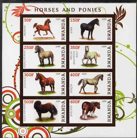 Rwanda 2009 Horses & Ponies imperf sheetlet containing 8 values unmounted mint