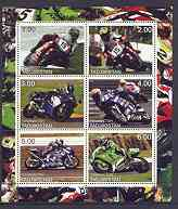 Tadjikistan 2001 Racing Motorcycles sheetlet containing complete set of 6 values unmounted mint