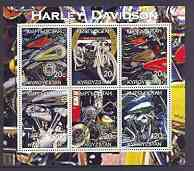 Kyrgyzstan 2001 Harley Davidson Motorcycles sheetlet containing complete set of 6 values unmounted mint