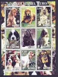 Komi Republic 2001 Dogs (Cocker Spaniel) perf sheetlet containing complete set of 9 values, each with Scout logo unmounted mint