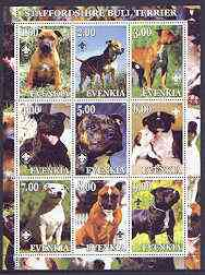 Evenkia Republic 2001 Dogs (Staffordshire Bull Terrier) perf sheetlet containing complete set of 9 values, each with Scout logo unmounted mint