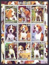 Sakha (Yakutia) Republic 2001 Dogs (Beagle) perf sheetlet containing complete set of 9 values, each with Scout logo unmounted mint