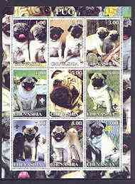 Chuvashia Republic 2001 Dogs (Pug) perf sheetlet containing complete set of 9 values, each with Scout logo unmounted mint