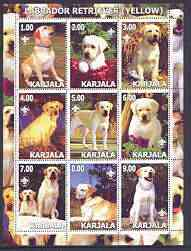 Karjala Republic 2001 Dogs (Golden Labrador Retriever) perf sheetlet containing complete set of 9 values, each with Scout logo unmounted mint