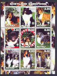 Altaj Republic 2001 Dogs (Shetland Sheepdog) perf sheetlet containing complete set of 9 values, each with Scout logo unmounted mint