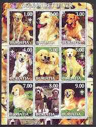 Buriatia Republic 2001 Dogs (Golden Retriever) perf sheetlet containing complete set of 9 values, each with Scout logo unmounted mint
