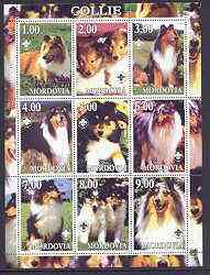 Mordovia Republic 2001 Dogs (Collie) perf sheetlet containing complete set of 9 values, each with Scout logo unmounted mint