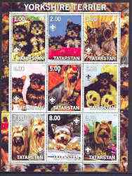 Tatarstan Republic 2001 Dogs (Yorkshire Terrier) perf sheetlet containing complete set of 9 values, each with Scout logo unmounted mint