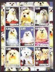 Sakhalin Isle 2001 Dogs (Maltese) perf sheetlet containing complete set of 9 values, each with Scout logo unmounted mint